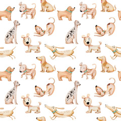 Watercolor cute funny dogs seamless pattern, hand drawn isolated on a white background