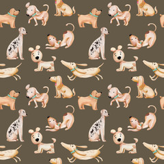 Watercolor cute funny dogs seamless pattern, hand drawn isolated on a brown background