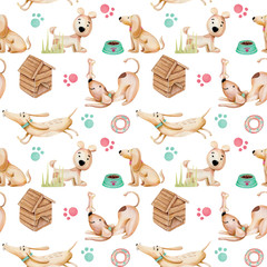 Watercolor cute funny dogs and dogs elements seamless pattern, hand drawn isolated on a white background