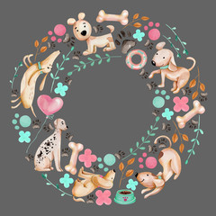 Watercolor cute funny dogs and elements wreath, frame, hand drawn on a grey background