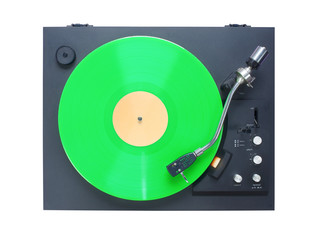 Classic turntable with green vinyl record, isolated on white background, free copy space