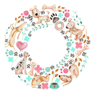 Watercolor cute funny dogs and elements wreath, frame, hand drawn on a white background