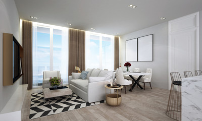 The luxury loubge and living room interior design abd sea view background