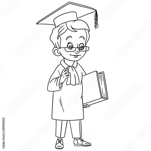 Coloring Page Cartoon Graduating Boy In Graduation Cap Design For