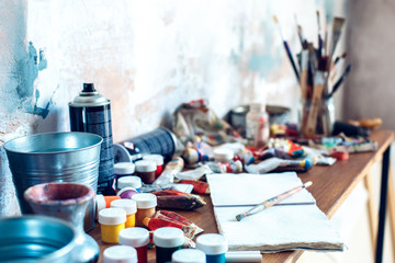 Painting drawing artist objects indoors no people