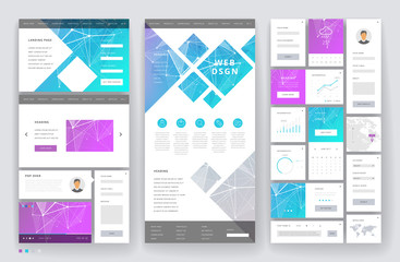 Website template design with interface elements