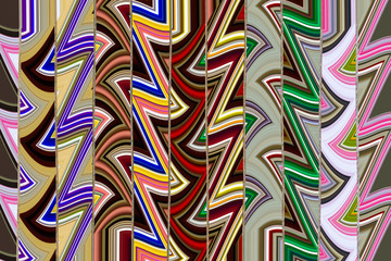 Design Pattern with zigzag and wavy lines in chevron and multicolored style distributed in bands or vertical lines