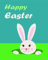 Easter greeting card with text happy easter and cute bunny rabbit looking from the hole in grass, blue background