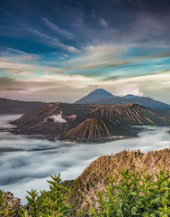 Mount BROMO viewed from Pananjakan point during sunrise.