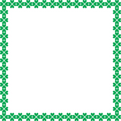 Saint Patricks Day elegant border with shamrocks on white background.