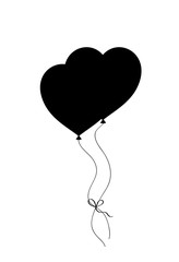 Black silhouette of pair bounded heart shaped helium balloons