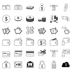 36 Icons. Banking and Financial Set Vector Line Icon. Includes such as Money,Coin,Banknotes,money bag,ATM,Credit Cards,wallet,Financial activities.64x64 Pixel Perfect.