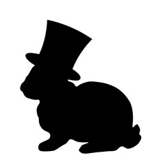 Black silhouette of fluffy rabbit or hare wearing magic cylinder top hat