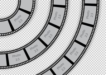 Round film strip vintage swirl design element template for photo album