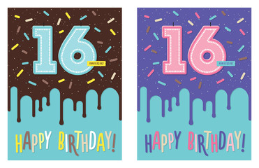 Birthday card with number 16 celebration candle