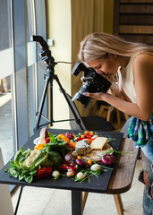 Food photographer at work. Modern equipment to make quality photos. Creativity art hobby leisure concept