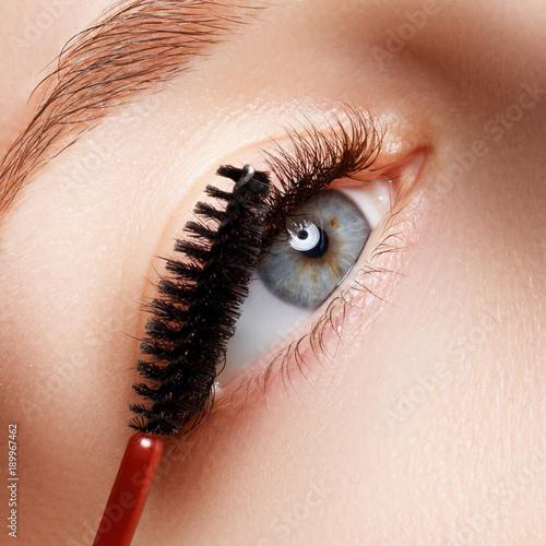 Beautiful Macro Shot Of Female Eye With Extreme Long Eyelashes And