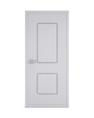 3d white closed door isolated on white background. Front view. 3d rendering.