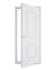 Open door over white background. 3d rendering.