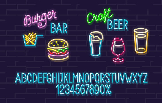 Neon set for burger and craft beer bar. Blue glowing font with uppercase letters. Stout, cherry beer and lager icons. Delicious burger and tasty fries.
