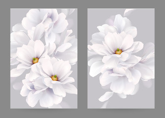 Set of two invitation or congratulation cards with elegant flower composition. Blooming white magnolias formed composition on the gray backgrounds.