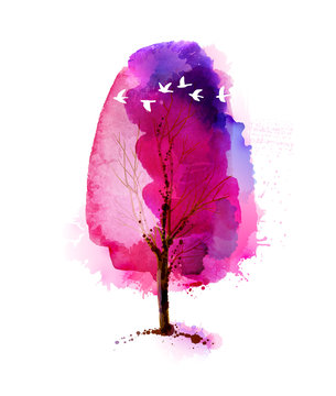 Blossoming Spring watercolor bright pink tree and flock of white flying birds.