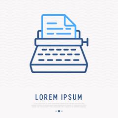 Typewriter thin line icon. Modern vector illustration.