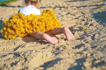 skirt yellow lush little girl sand beach feet heels