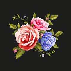 Vector realistic rose bouquet leaves pattern