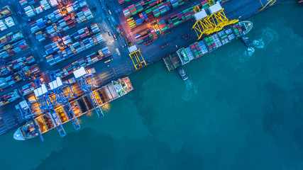 Aerial view of container cargo ship, Container Cargo ship in import export logistic, Logistics and transportation of International Container Cargo ship. Wall mural