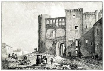 Duques de Alba castle at Alba de Tormes by Jenaro Pérez Villaamil (from Spamers Illustrierte  Weltgeschichte, 1894, 5[1], 564)