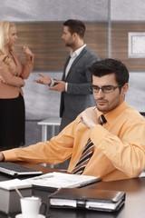 Portrait of busy businessman