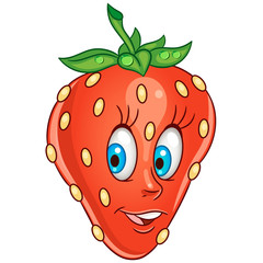 Cartoon Strawberry. Happy Fruit Emoticon. Smiley. Emoji. Eco Food symbol. Design element for kids coloring book page, t-shirt print, icon, logo, label, patch, sticker.