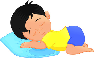 Cute little boy sleeping on a pillow cartoon