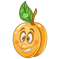 Cartoon Apricot. Happy Fruit Emoticon. Smiley. Emoji. Eco Food symbol. Design element for kids coloring book page, t-shirt print, icon, logo, label, patch, sticker.