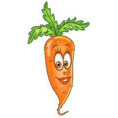 Cartoon Carrot. Happy Vegetable Emoticon. Smiley. Emoji. Eco Food symbol. Design element for kids coloring book page, t-shirt print, icon, logo, label, patch, sticker.