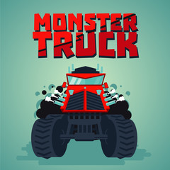 Monster truck. Big car, cartoon style. Isolated illustration. Front view