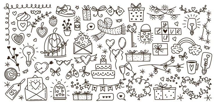 Sketchy vector hand drawn doodles cartoon set of Love and Valentine s Day objects and symbols
