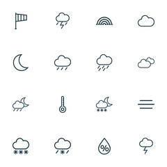 Weather icons line style set with windsock, stormy, rainbow and other moon  elements. Isolated vector illustration weather icons.