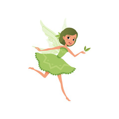 Fantasy forest fairy with green hair in little fancy dress. Imaginary fairytale character in action. Cute smiling girl with magic wings. Cartoon flat vector design