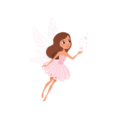 Cartoon fairy girl flying and spreading magical dust. Brown-haired pixie in cute pink dress. Fairytale character with little wings. Colorful flat vector design