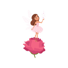 Cartoon fairy girl standing on rose and spreading magical dust. Little brown-haired pixie in cute pink dress. Fairytale character with wings. Flat vector design