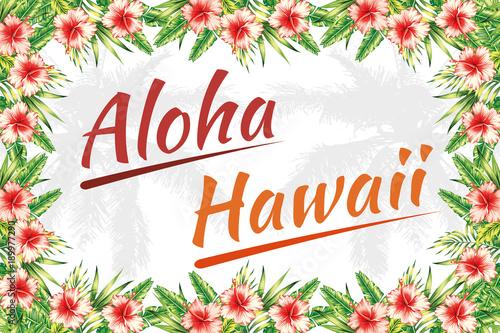 Slogan aloha hawaii jungle frame\