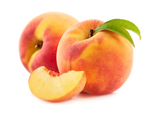 Papiers peints Fruit Peach with leaves