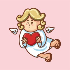 Cute cupid baby character with wings and heart. Romantic hand drawn love illustration art in cartoon for valentine day, for print, greeting card, poster