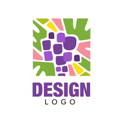Colorful emblem with abstract purple grapes. Organic fruit. Flat vector icon in rectangular shape. Creative design for advertising or product packaging