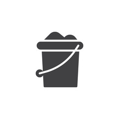 Sand bucket icon vector, filled flat sign, solid pictogram isolated on white. Symbol, logo illustration.
