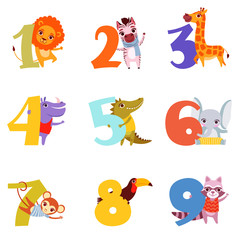 Colorful numbers from 1 to 9 and animals. Cartoon lion, zebra, giraffe, hippopotamus, crocodile, elephant, monkey, toucan, raccoon. Vector design for children s education book