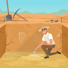 Man sitting in square pit and sweeping dirt from skeleton s bones. Excavations of ancient burial. Archaeological tools. Sky and desert on background. Flat vector design
