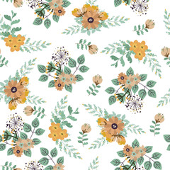 Vintage floral pattern. Seamless vector pattern with cute flowers for textiles, packaging, Wallpaper, covers.